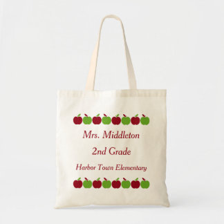 Red and Green Apple Rows Personalized Tote Bag