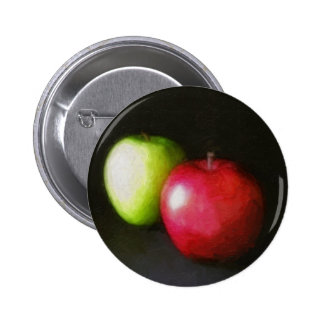 Red and Green Apples 2 Painterly Pinback Buttons