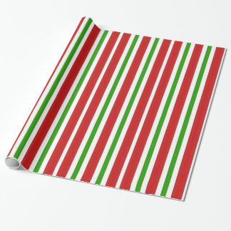Red and Green Candy Cane Stripes Wrapping Paper