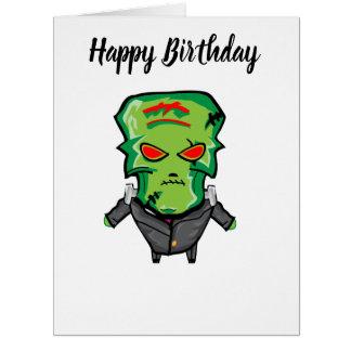 Red and green cartoon Halloween Frankenstein Card