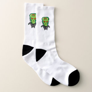 Red and green cartoon Halloween Frankenstein Socks