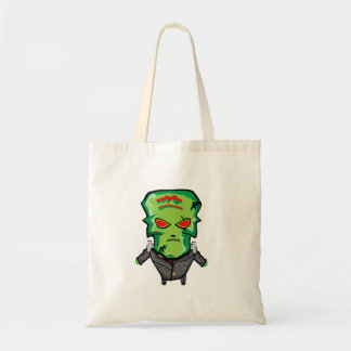 Red and green cartoon Halloween Frankenstein Tote Bag