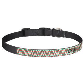 Red and Green Chevron Custom Doggie Collar Pet Collars