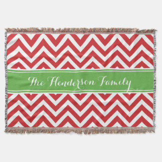 Red and Green Chevron Family Monogram Throw Blanket