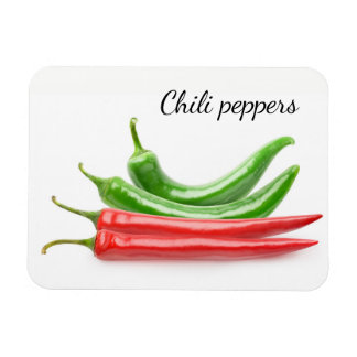 Red and green chili peppers magnet