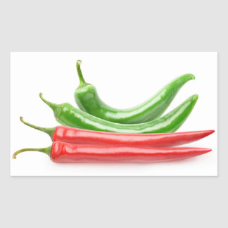 Red and green chili peppers rectangular sticker