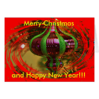 Red and Green Christmas Bulb  Christmas  Card