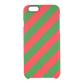 Red and Green Christmas Candycane Stripes Clear iPhone 6/6S Case