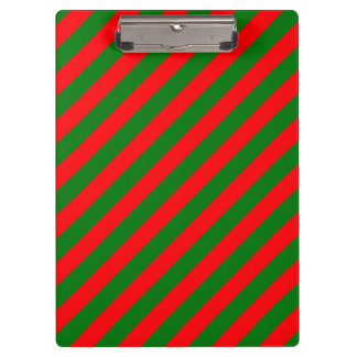 Red and Green Christmas Candycane Stripes Clipboard