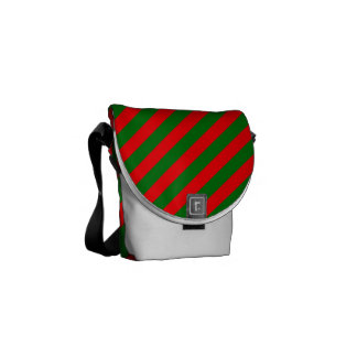 Red and Green Christmas Candycane Stripes Courier Bag