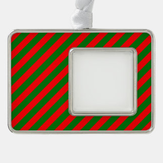 Red and Green Christmas Candycane Stripes Silver Plated Framed Ornament