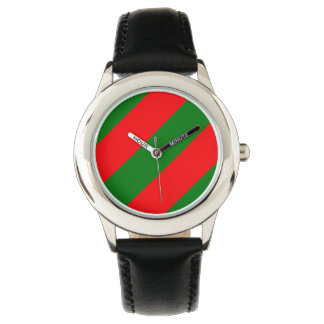 Red and Green Christmas Candycane Stripes Watch