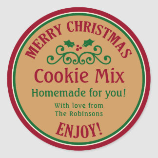 Red and green Christmas cookie mix gift sticker