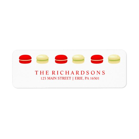 Red and Green Christmas French Macarons on White Return Address Label