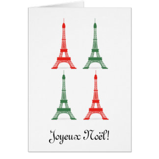 Red and Green Christmas French Theme Eiffel Towers Card