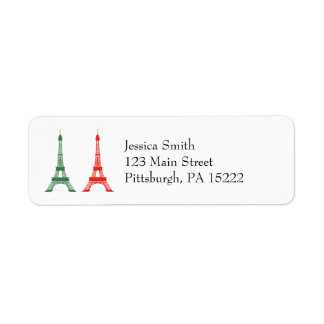 Red and Green Christmas French Theme Eiffel Towers Return Address Label