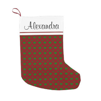 Red and Green Christmas Heart Pattern Monogram Small Christmas Stocking
