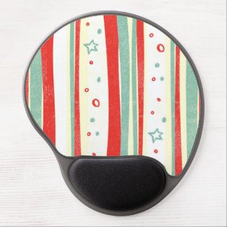 Red and Green Christmas Holiday Vertical Stripes Gel Mouse Mat