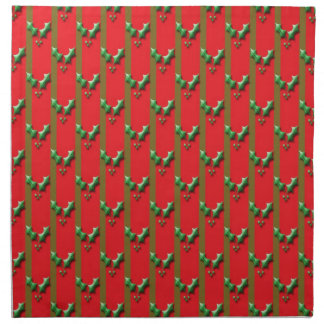 Red and green christmas holly napkins
