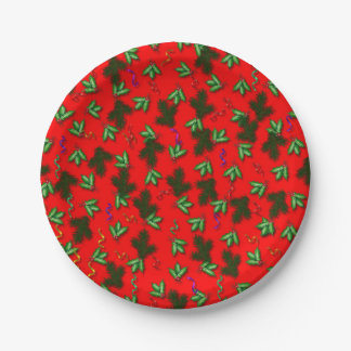 Red and Green Christmas Holly Pattern Plate 7 Inch Paper Plate