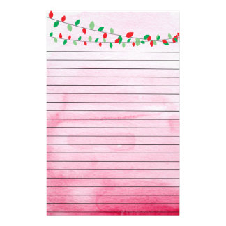 Red and Green Christmas Lights on Pink Stationery