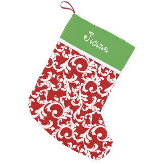 Red and Green Christmas Monogram Damask Print Small Christmas Stocking