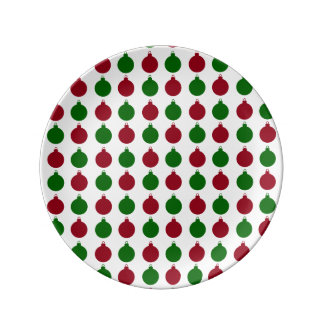 Red and Green Christmas Ornaments Plate
