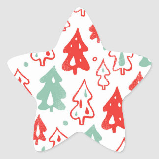Red and Green Christmas Pine Trees Pattern Sticker