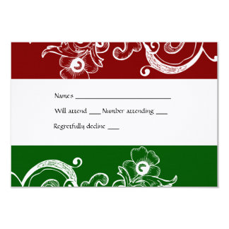 Red and Green Christmas rsvp with envelope 9 Cm X 13 Cm Invitation Card