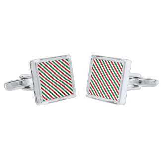 Red and Green Christmas Silver Finish Cuff Links