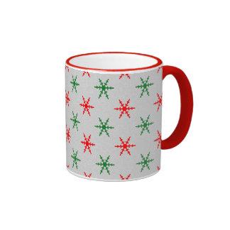 Red and green christmas snowflake coffee mug