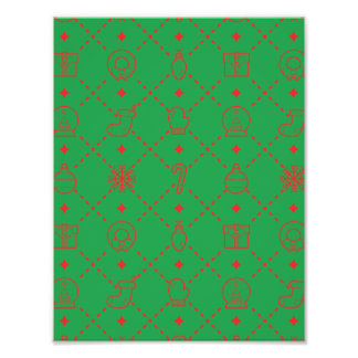 Red and Green Christmas Symbols Seamless Pattern Art Photo