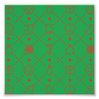 Red and Green Christmas Symbols Seamless Pattern Photographic Print
