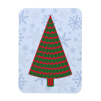 Red and Green Christmas Tree o  Snowflake Blizzard Rectangular Photo Magnet