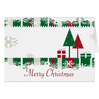 Red and Green Christmas Trees Card