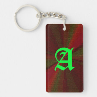 Red and Green Circular Patchwork Array Single-Sided Rectangular Acrylic Key Ring
