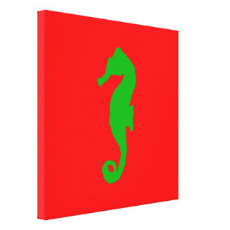 Red And Green Coastal Christmas Decor Seahorse Canvas Print