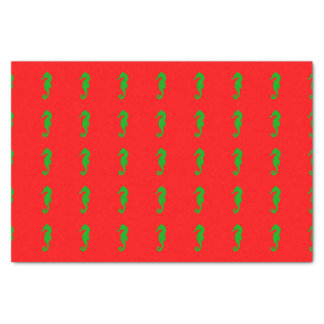 Red And Green Coastal Christmas Decor Seahorse Tissue Paper
