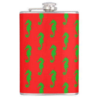 Red And Green Coastal Christmas Seahorse Pattern Flask
