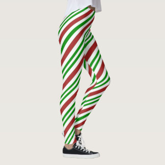 Red and Green Color Candy Cane Pattern Leggings