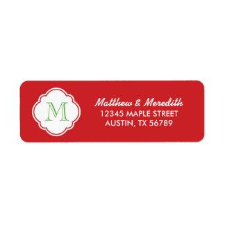 Red and Green Custom Monogram Return Address Label