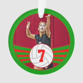 Red and Green Custom Volleyball Christmas Ornament