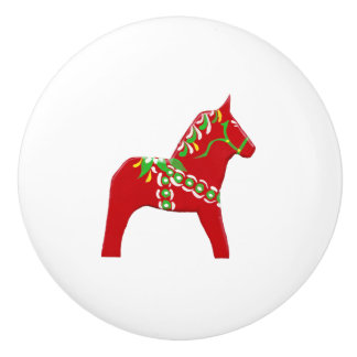 Red and Green Dala Horse Drawer Pull