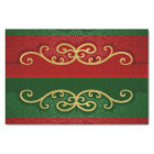 Red and Green Damask Elegance with Gold Accents Tissue Paper