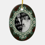 Red and Green Damask Oval Frame First Christmas