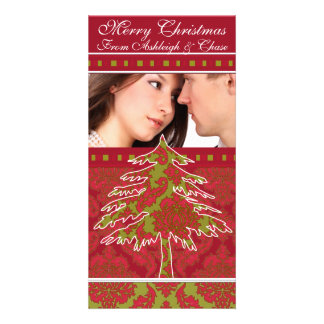 Red and Green Damask Pine Holiday Family Pictures Photo Cards