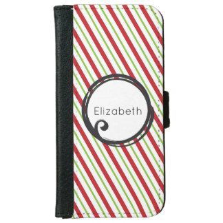 Red And Green Diagonal Striped Christmas Pattern iPhone 6 Wallet Case