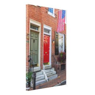 Red and Green Door on Philadelphia Alley Canvas Print