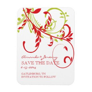 Red and Green Double Floral Save The Date Flexible Magnet