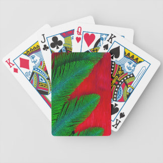 Red And Green Feather Abstract Bicycle Playing Cards